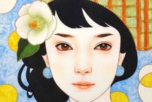 """Arisa Nakahara (1984-) / Born in Okinawa, Japan and graduated with Master's degree from Tokyo University of Arts. Winner of many contests, she has """"The Power to Live"""" as her theme, she expresses herself by drawing primarily female subjects. Currently attracting attention as a Young female Japanese-style painter."""