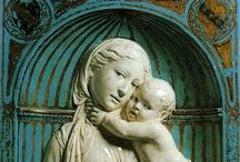 Della Robia (Luca 1399/1400-1482, Andrea 1435-1525, Giovanni 1469-1529/1530, Girolamo 1488-1566) / Luca Della Robia was an Italian sculptor from Florence, noted for his glazed terracota roundels, in a technique he apparently developed himself. Though a leading sculptor in stone, after developing his technique in the early 1440s, he mainly produced terracota thereafter, and passed the technique on to his nephew Andrea and great-nephew Giovanni and Girolamo.