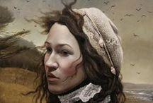 """Andrea Kowch (1986-) / She was born in Detroit, Michigan. Largely self-taught and influenced by the work of American Masters and the Old Master of the Renaissance, Kowch's paintings and illustrations are best known for their rich symbolism, mood, and control of medium, leading her art to be described as a """"poerful voice emerging, demonstrating a highly sensitive conciousness that informs a culturally laced symbolism""""."""