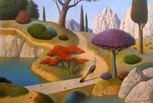 Evgeni Gordiets (1952-) / He was born in Ukraine and moved to the USA in the early 1990's. Evgeni is a contemporary surrealista phenomenon. He received his Masters Degree from the State University of Fine Arts and his Ph.D, from the State Academy of Fine Art, all in Kiev. His paintings are filled with a profound sense of calm and Peace, conveying a longing for eternity and a place of stillness away from out hectic culture. He creates a serene dream-like atmosphere where quietly magical things happen.