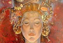 Daniela Zekina (1960-) / Born in Bulgaria and graduated in design and book illustration at the Academy of Fine Arts in Sofia. She has illustrated more than 15 children's books and has participated in numerous exhibitions in group and individual. After 20 years she fell in love with the art of miniatures and paintings. Her works are figurative, with themes based on mythology and characters expressing themselves in full of feelings pictures.