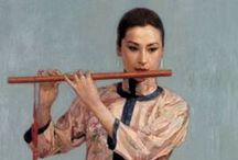 """Chen Yifei (1946-2005) / Central figure in the development of Chinese oil painting and one of China's most renowned contemporary artists. Although denounced for """"capitalist behavior"""" his talent and mastery  won him recognition by the authorities. He soon became one of the leading painters of the Cultural Revolution. After the C R, he became the forerunner of a new age in Chinese aesthetics, promoting a new sense of modernity and lifestyle in his paintings as well as in fashion, cinema and design."""