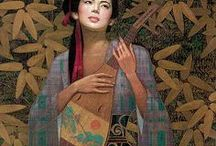 Karl Bang (1935-) / Shanghai born painter Pang Ka Karl Bang was formally trained by the master artists of Chinese painting and he also formally trained in the European painting tradition in France and Belgium. In 1984 he was allowed to emigrate to the US where he was free to paint his passion - beautiful women, goddesses and the feminine archetype - from various races and cultures.