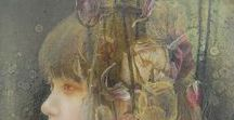 Yuna Tsuru (1987-) / Japanese artist, she was born in Hiroshima, and was graduated from Saga University and studied under Makoto Ogisso. Her work is dreamy or lets say almost ethereal, focusing on works inspired by the intellectual suppression and descent into war of the Taisho era, which the artist sees as having several parallels to contemporary Japan today.