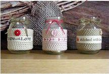Crocheted jars, baskets