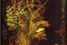 ART ☰  Arcimboldo / Giuseppe Arcimboldo  (1526 or 1527 – July 11, 1593) was an Italian painter best known for creating imaginative portrait heads made entirely of such objects as fruits, vegetables, flowers, fish, and books – that is, he painted representations of these objects on the canvas arranged in such a way that the whole collection of objects formed a recognizable likeness of the portrait subject.