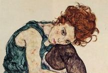 ART ☰  Schiele /  Egon Schiele (June 12, 1890 – October 31, 1918) was an Austrian painter. A protégé of Gustav Klimt, Schiele was a major figurative painter of the early 20th century. His work is noted for its intensity, and the many self-portraits the artist produced. The twisted body shapes and the expressive line that characterize Schiele's paintings and drawings mark the artist as an early exponent of Expressionism.