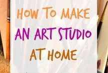 Art Studio Ideas / You DO have space to make art at home. Whether you have a dedicated room or no room at all - check out these inspiring ideas!
