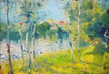 Ríos y lagos. / Eliseo Meifrén Roig. Pinturas al óleo de ríos y lagos.