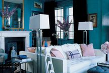 Decor / Danish contemporary style - mixed with colorful wallpainting, golden hues, wooden floors