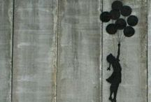 Banksy streetart / Unknown artist with open mind. Love his work
