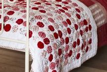 red(blue) and white quilts