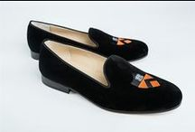 Princeton University Shoes / Princeton University logo shoes for men and women. JP Crickets is the go-to men's and women's shoe that combines an Italian-made loafer with the comfort of a classic velvet slipper. The relaxed style shoe boasts an embroidered college logo shoe on suede, velvet, or linen with an all leather sole. Tassel loafers, monogrammed logos, and custom designed shoes also available. Italian-made loafers embroidered with college logos or monograms on suede, linen, or velvet. @princeton / by JP Crickets University and Collection Loafers
