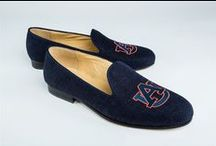 "Auburn Shoes / Auburn logo shoes for men and women. JP Crickets is the go-to men's and women's shoe that combines an Italian-made loafer with the comfort of a classic velvet slipper. The relaxed style shoe boasts an embroidered college logo shoe on suede, velvet, or linen with an all leather sole. Tassel loafers, monogrammed logos, and custom designed shoes also available. Italian-made loafers embroidered with college logos or monograms on suede, linen, or velvet. @auburntigers #WarEagle""  / by JP Crickets University and Collection Loafers"