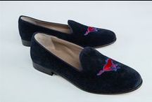Southern Methodist University Shoes-Pony Loafers / Southern Methodist University logo shoes for men and women. JP Crickets is the go-to men's and women's shoe that combines an Italian-made loafer with the comfort of a classic velvet slipper. The relaxed style shoe boasts an embroidered college logo shoe on suede, velvet, or linen with an all leather sole. Tassel loafers, monogrammed logos, and custom designed shoes also available. Italian-made loafers embroidered with college logos or monograms on suede, linen, or velvet. @smu / by JP Crickets University and Collection Loafers