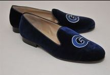 Georgetown University / Georgetown University logo shoes for men and women. JP Crickets is the go-to men's and women's shoe that combines an Italian-made loafer with the comfort of a classic velvet slipper. The relaxed style shoe boasts an embroidered college logo shoe on suede, velvet, or linen with an all leather sole. Tassel loafers, monogrammed logos, and custom designed shoes also available. Italian-made loafers embroidered with college logos or monograms on suede, linen, or velvet. @georgetownu / by JP Crickets University and Collection Loafers