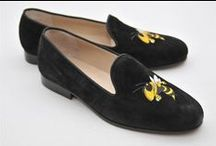 Georgia Tech / Georgia Tech logo shoes for men and women. JP Crickets is the go-to men's and women's shoe that combines an Italian-made loafer with the comfort of a classic velvet slipper. The relaxed style shoe boasts an embroidered college logo shoe on suede, velvet, or linen with an all leather sole. Tassel loafers, monogrammed logos, and custom designed shoes also available. Italian-made loafers embroidered with college logos or monograms on suede, linen, or velvet. @georgiatech / by JP Crickets University and Collection Loafers