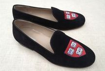 Harvard University / Harvard University logo shoes for men and women. JP Crickets is the go-to men's and women's shoe that combines an Italian-made loafer with the comfort of a classic velvet slipper. The relaxed style shoe boasts an embroidered college logo shoe on suede, velvet, or linen with an all leather sole. Tassel loafers, monogrammed logos, and custom designed shoes also available. Italian-made loafers embroidered with college logos or monograms on suede, linen, or velvet. @harvard / by JP Crickets University and Collection Loafers