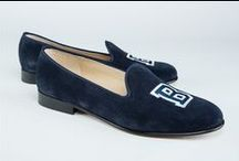 Bucknell University / Bucknell University logo shoes for men and women. JP Crickets is the go-to men's and women's shoe that combines an Italian-made loafer with the comfort of a classic velvet slipper. The relaxed style shoe boasts an embroidered college logo shoe on suede, velvet, or linen with an all leather sole. Tassel loafers, monogrammed logos, and custom designed shoes also available. Italian-made loafers embroidered with college logos or monograms on suede, linen, or velvet. @bucknellu / by JP Crickets University and Collection Loafers