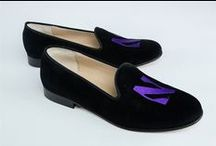 Northwestern University / Northwestern University logo shoes for men and women. JP Crickets is the go-to men's and women's shoe that combines an Italian-made loafer with the comfort of a classic velvet slipper. The relaxed style shoe boasts an embroidered college logo shoe on suede, velvet, or linen with an all leather sole. Tassel loafers, monogrammed logos, and custom designed shoes also available. Italian-made loafers embroidered with college logos or monograms on suede, linen, or velvet. @northwesternU #GoWildCats / by JP Crickets University and Collection Loafers