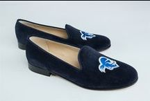Seton Hall / Seton Hall logo shoes for men and women. JP Crickets is the go-to men's and women's shoe that combines an Italian-made loafer with the comfort of a classic velvet slipper. The relaxed style shoe boasts an embroidered college logo shoe on suede, velvet, or linen with an all leather sole. Tassel loafers, monogrammed logos, and custom designed shoes also available. Italian-made loafers embroidered with college logos or monograms on suede, linen, or velvet. @setonhall / by JP Crickets University and Collection Loafers