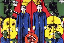 Gilbert & George / Gilbert Prousch sometimes referred to as Gilbert Proesch[3][4][5] (born 17 September 1943 in San Martin de Tor, Italy) and George Passmore (born 8 January 1942 in Plymouth, United Kingdom) are two artists who work together as a collaborative duo called Gilbert & George. They are known for their distinctive and highly formal appearance and manner and also for their brightly coloured graphic-style photo-based artworks.
