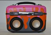 Case of Bass / Suitcases transformed into boom boxes. So cool