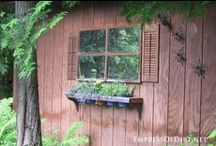 Potting , Garden Sheds  & Containers / Before Pinterest, a potting/ garden shed was...well, a shed! A place to store your planting & garden stuff. I never dreamed that there were so many ways to create a unique shed . So whether you are a  Primitive shed lover or you like the more refined looking shed , or maybe  it is the all out, glammed up shed that you love, this Board pretty much covers them all along with all things related to garden sheds.  What an eye opener this has been for me! Makes me look at sheds in a whole new way!   / by Suze : Blacktavernprimitives