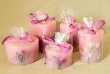 Pink candles - Ροζ κεριά / Pink handmade candles - ροζ χειροποίητα κεριά