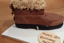 Kaitlin's 16th birthday ugg boot cake / Chocolate fudge cake with vanilla butter cream, covered in fondant icing , in the shape of an Australian ugg boot