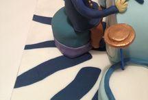 80th birthday cake for Jane Thompson's dad / Victoria sandwich drum kit cake