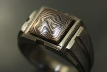 Mokume Gane / Hand Made Pieces with Hand Patterned Mokume Gane by Art Metals Studio.