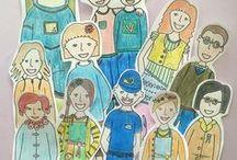 Tarinoita ja piirustuksia Utin asukkaista / Värityskuvat Utin hahmoista heräävät eloon, kun kirjoitat heidän päivästään tarinan ja teet piirustuksen, johon voit asukkaan värityskuvan liittää. Kokeile vaikka!