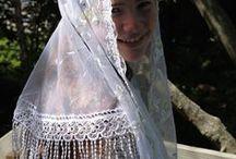 White & Cream Veils / RM Mantilla's White Chapel Veils Offering unique chapel veils you're not going to see everywhere else! http://rosamysticamantilla.com/