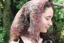 Brown and Taupe Veils / These colors render a very soothing and relaxed feel that's tranquil to the eyes. It's a great accessory choice for comfortably easy wear. These vintage looks offer romantic fashion in down to earth colors.  http://rosamysticamantilla.com/brown-and-gray-chapel-veils-made-to-order.php