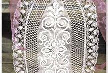 crochet doilies & tablecloth / tablecloth