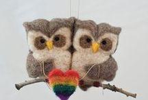 Needle Felted Wool Owls