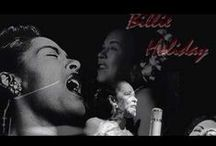 "Billie Holiday! / Billie Holiday (born Eleanora Fagan April 7, 1915 – July 17, 1959) was an American jazz singer and songwriter. Nicknamed ""Lady Day"" by her friend and musical partner Lester Young, Holiday had a seminal influence on jazz and pop singing. Her vocal style, strongly inspired by jazz instrumentalists, pioneered a new way of manipulating phrasing and tempo.Critic John Bush wrote that Holiday ""changed the art of American pop vocals forever.""  / by Earth Provides"