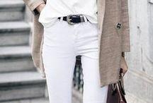 Weiße Jeans Styling / White Denim - Weiße Jeans sind ein unverzichtbares Kleidungsstück, dass in keiner Garderobe fehlen darf. Auf dieser Pinnwand finden sich verschiedenste Outfits mit dem Klassiker, der vom Frühling bis in den Winter hinein getragen werden kann.