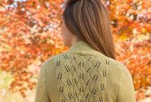 Autumn Leaf - August 2014 / Leaf motifs decorate fall sweaters, wraps and hats in Autumn Leaf, a beautiful collection featuring 12 designs for fall.