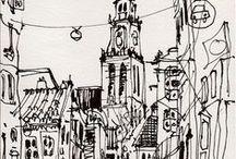 Urban Sketchs / Referências de desenhos urbanos, aquarelas, esboços, mapas, entre outros.