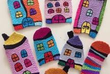 Happy Houses - CJC / The works shown here all refer back to one piece of textile art 'Most Beautiful World of Peaceful Harmony'.  The houses used in that one piece were inspired by the work of Hundertwasser and I have gone on to develop them in many, many different ways.  Cathy Jack Coupland.