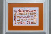 Birth Announcement Wording - Keepsake Plaques / The perfect keepsake birth announcement for your newborn!  Custom designed and machine embroidered personally for your little one!