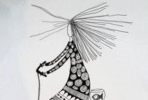 illustrations made by Bente Sandtorv / Illustrations with ink and fabric