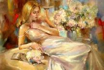 Art ~ Anna Razumovskaya / Razumovskaya's style is colourful, blending the colour to create the illusion of flowing streams and forms, creating magical almost fairytale portraits of people and places. Her style creates a powerful sense of movement and life and captivates the viewer in what feels like a moving image in a painting, blurred and distorted images line the background, causing a further sense of mysticism and suspense.
