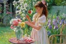Art ~  Averin Aleksander / Alexander Averin was born in 1952 in Noginsk. His style is purely realistic, with a strong influence of the late 19th Century Russian painters, usually depicting domestic scenes in a soft twilight. His realistic painting is typical for the ones of the end of the 19th Century. Like Pavel Fedotov, Averin's favourite painter, he works outside in the air, using surroundings to inspire the brush and compliment the work.