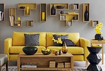 Living room  / Ideas for grey & mustard theme