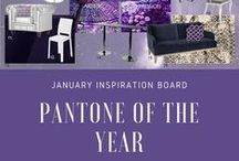 "Perfectly Purple Pantone Inspiration / Viewed by Pantone as ""inventive and imaginative, Ultra Violet lights the way to what is yet to come"", Display Group's in-house Design Director Cheryl Behnke and Designer Jamie Pecina use ultra violet in their January inspiration board."
