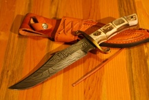 Bowie Knives / A Bowie knife is a style of fixed-blade knife first popularized by Colonel James 'Jim Bowie' in the early 19th Century. It was first made by James Black, although its common use refers to any large sheath knife with a clip point. The 'Jim Bowie knife' first became famous due to Bowie's use of a large Bowie knife at a duel known as the Sandbar Fight. The knife pattern is still popular with collectors.