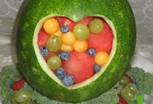 Love and Wedding / Artistic fruits and vegetables make wonderful decoration to the buffet, sweet table, head table or as a center piece.  Almost to beautiful to eat. However, you can eat your decoration for the dessert.